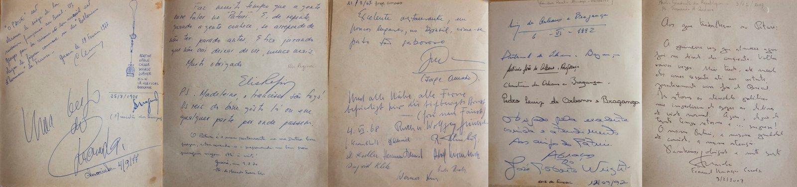 Detalhe do Livro de Ouro do Hotel e restaurante francês O Paturi